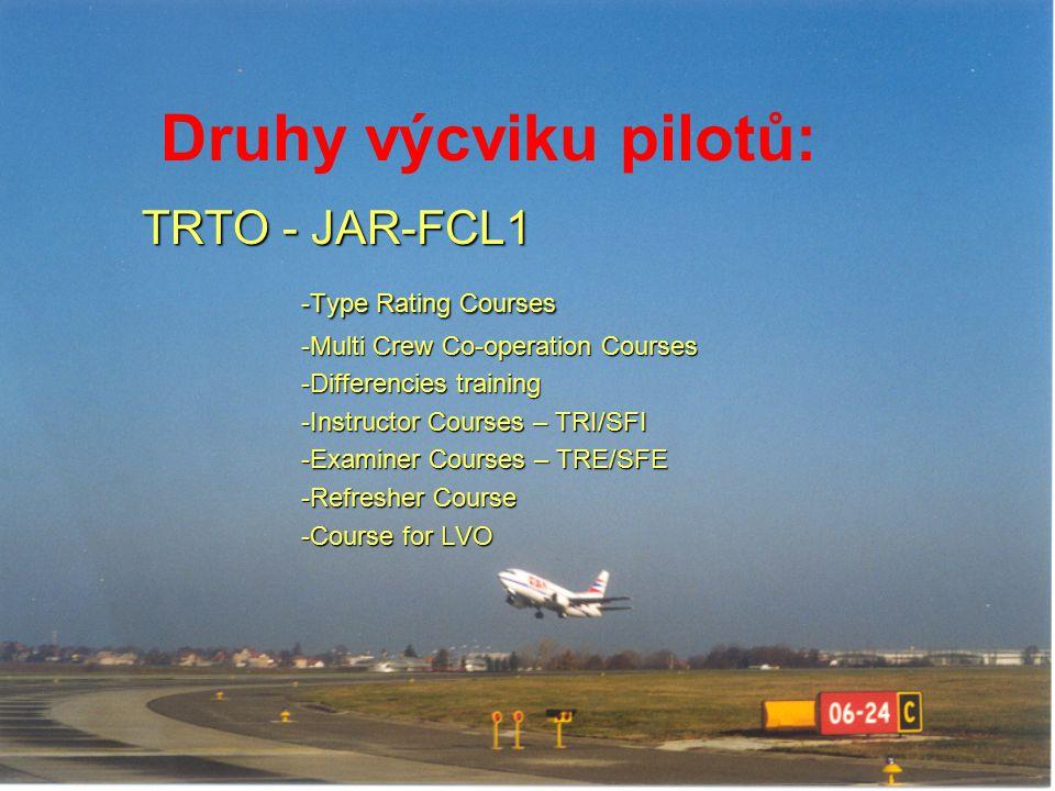 Druhy výcviku pilotů: TRTO - JAR-FCL1 -Type Rating Courses