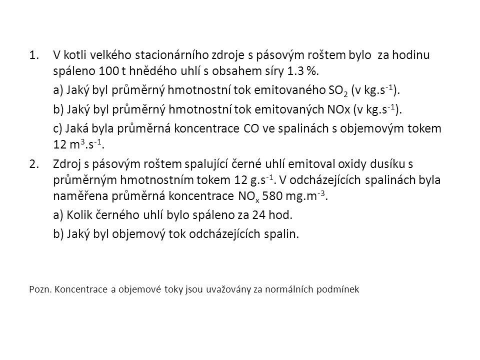 a) Jaký byl průměrný hmotnostní tok emitovaného SO2 (v kg.s-1).