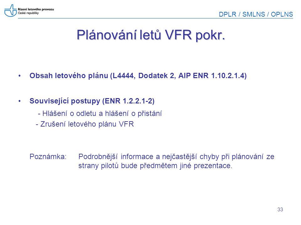 Plánování letů VFR pokr.