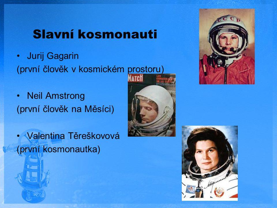Slavní kosmonauti Jurij Gagarin (první člověk v kosmickém prostoru)