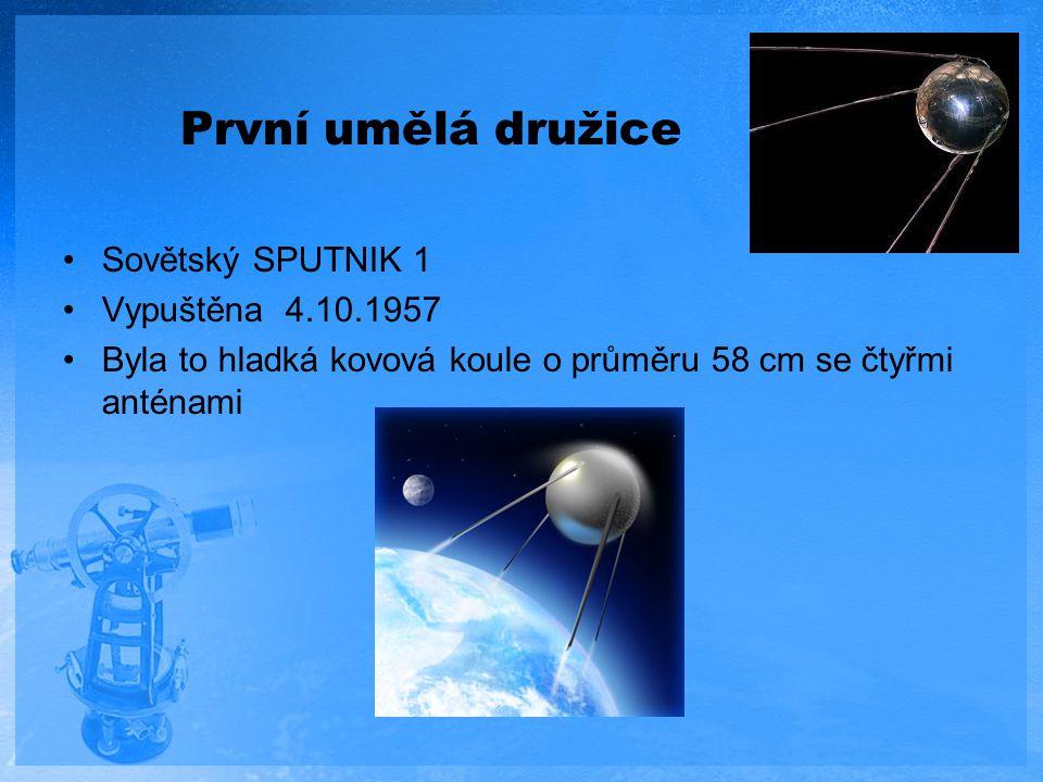 První umělá družice Sovětský SPUTNIK 1 Vypuštěna 4.10.1957