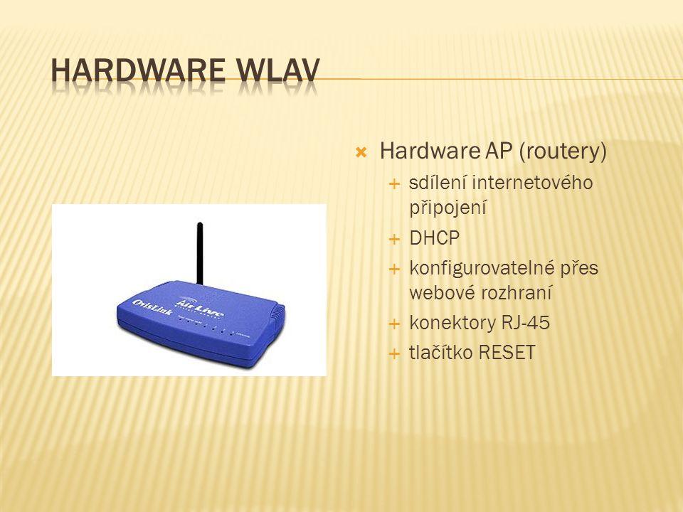 Hardware WLAV Hardware AP (routery) sdílení internetového připojení