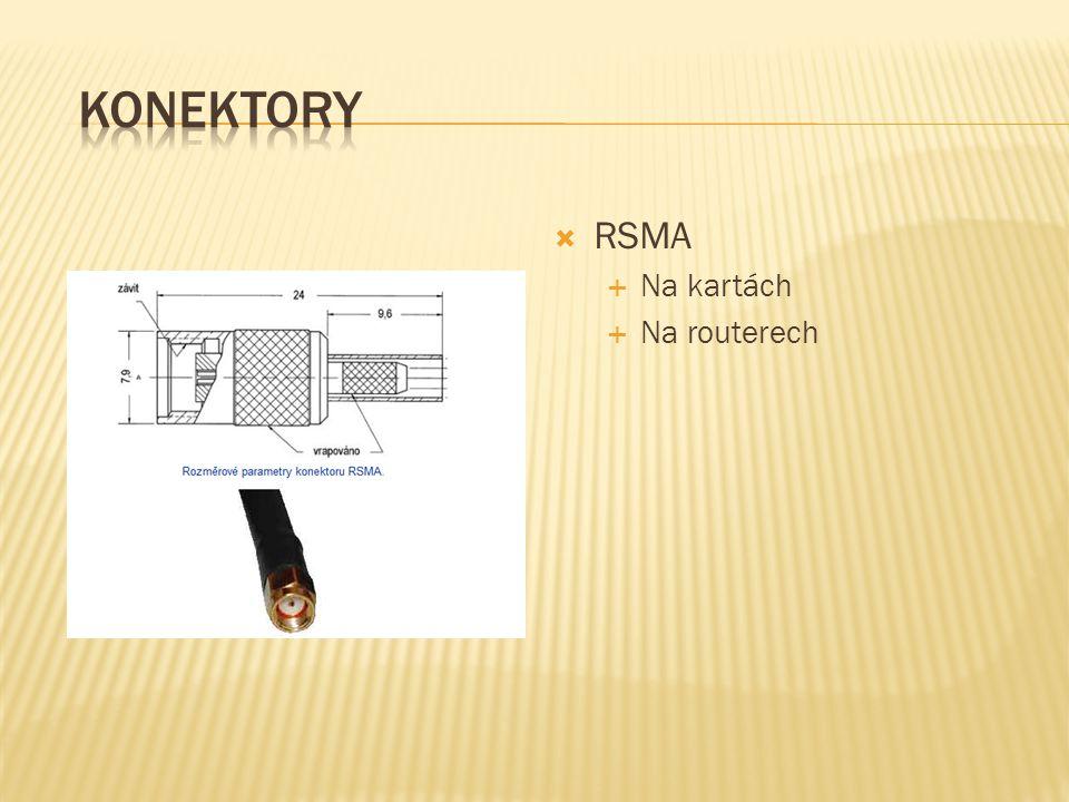 Konektory RSMA Na kartách Na routerech
