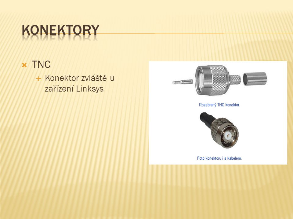 Konektory TNC Konektor zvláště u zařízení Linksys