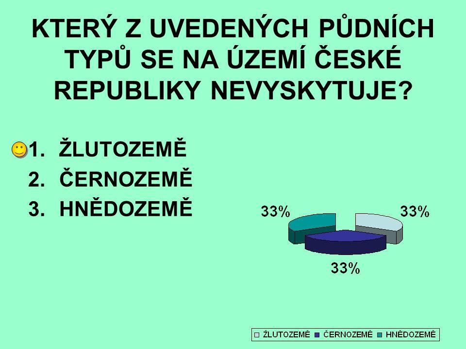 KTERÝ Z UVEDENÝCH PŮDNÍCH TYPŮ SE NA ÚZEMÍ ČESKÉ REPUBLIKY NEVYSKYTUJE