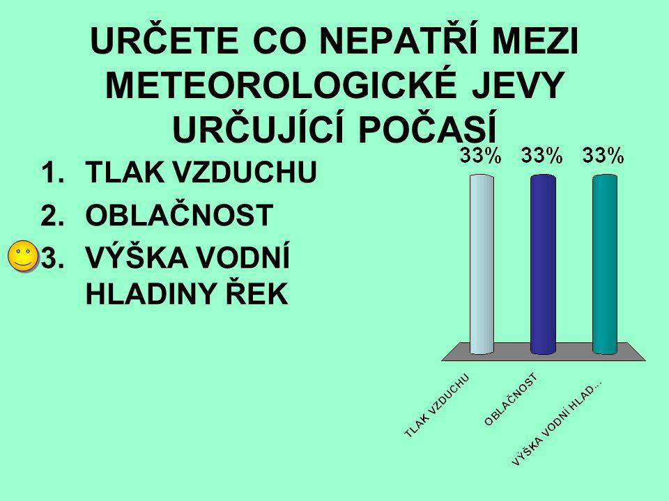 URČETE CO NEPATŘÍ MEZI METEOROLOGICKÉ JEVY URČUJÍCÍ POČASÍ