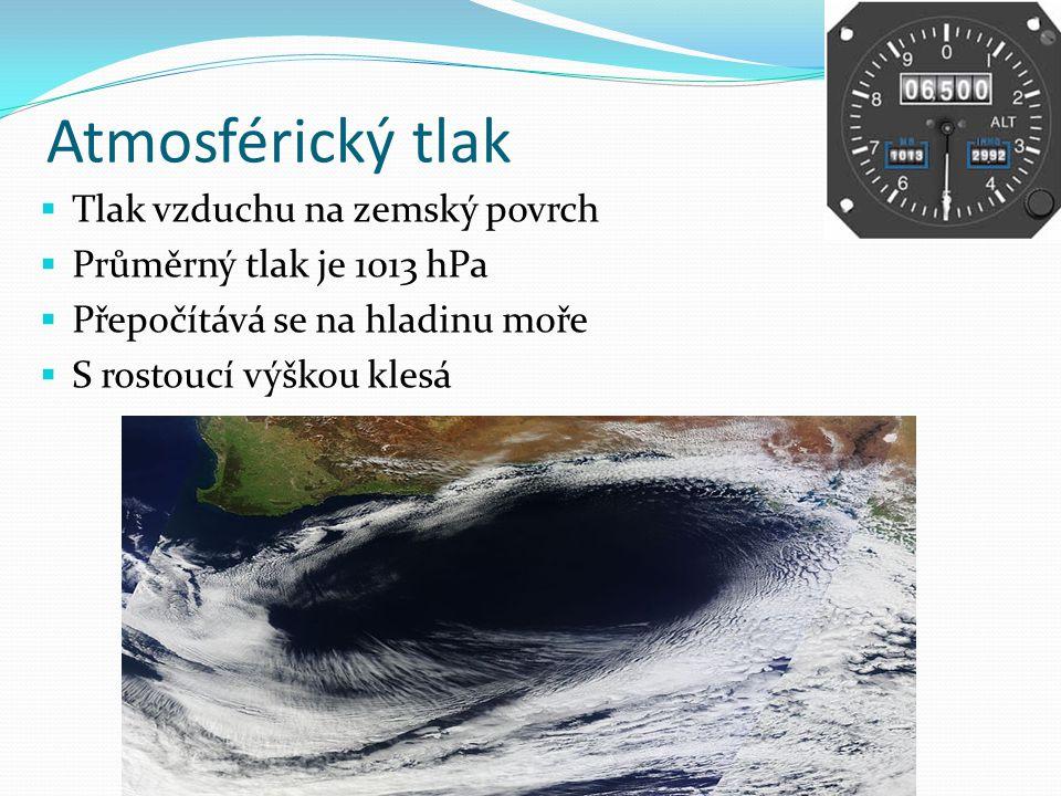 Atmosférický tlak Tlak vzduchu na zemský povrch