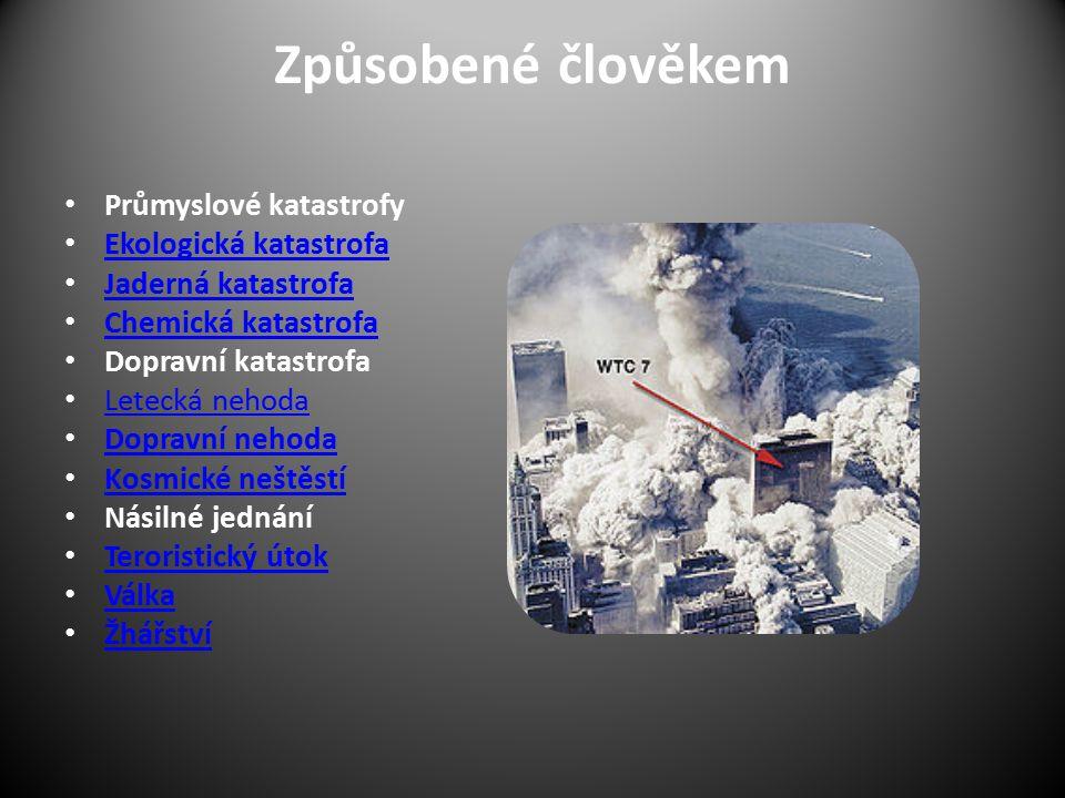 Způsobené člověkem Průmyslové katastrofy Ekologická katastrofa
