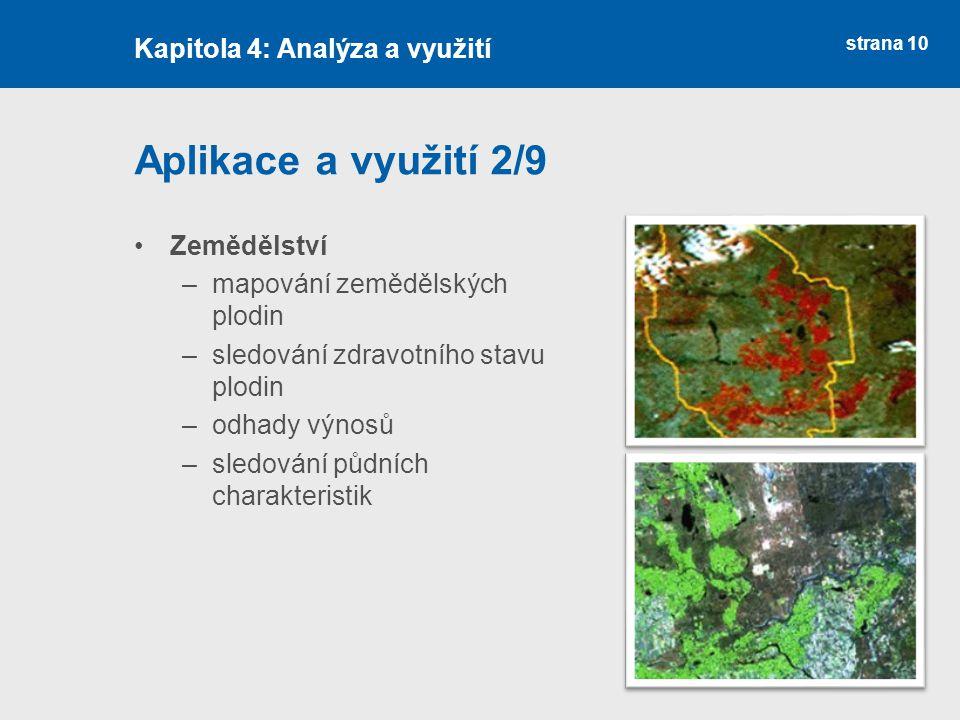Aplikace a využití 2/9 Kapitola 4: Analýza a využití Zemědělství