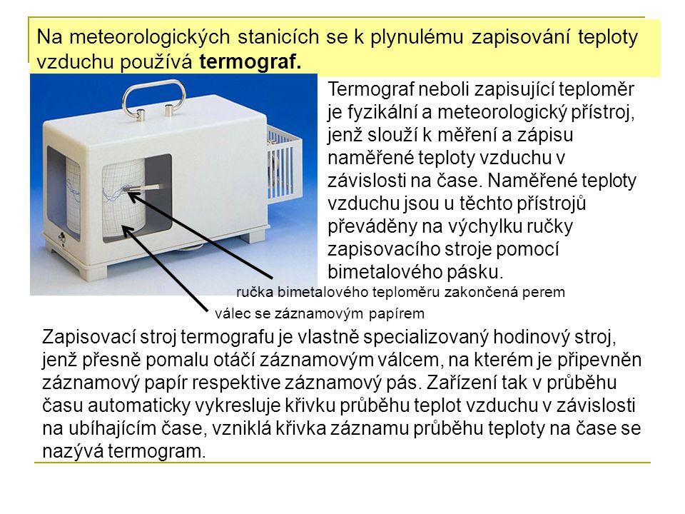 Na meteorologických stanicích se k plynulému zapisování teploty vzduchu používá termograf.