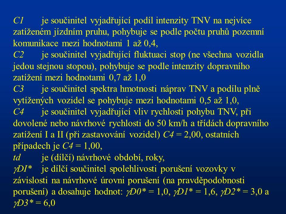 C1 je součinitel vyjadřující podíl intenzity TNV na nejvíce zatíženém jízdním pruhu, pohybuje se podle počtu pruhů pozemní komunikace mezi hodnotami 1 až 0,4,