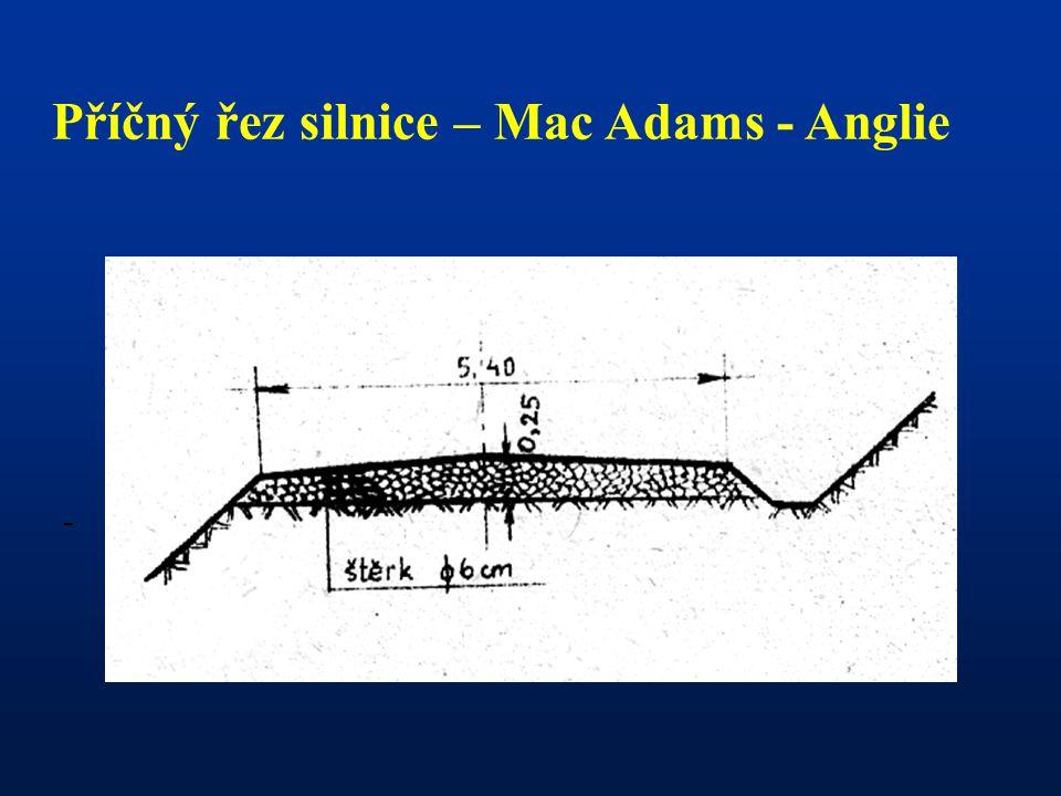 Příčný řez silnice – Mac Adams - Anglie