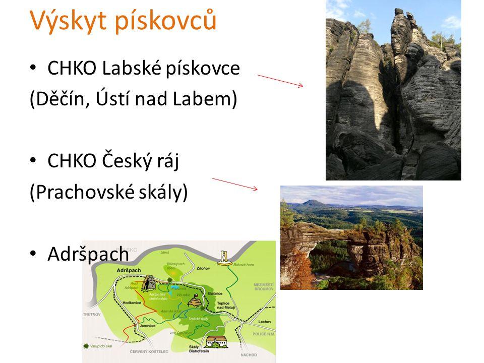 Výskyt pískovců CHKO Labské pískovce (Děčín, Ústí nad Labem)