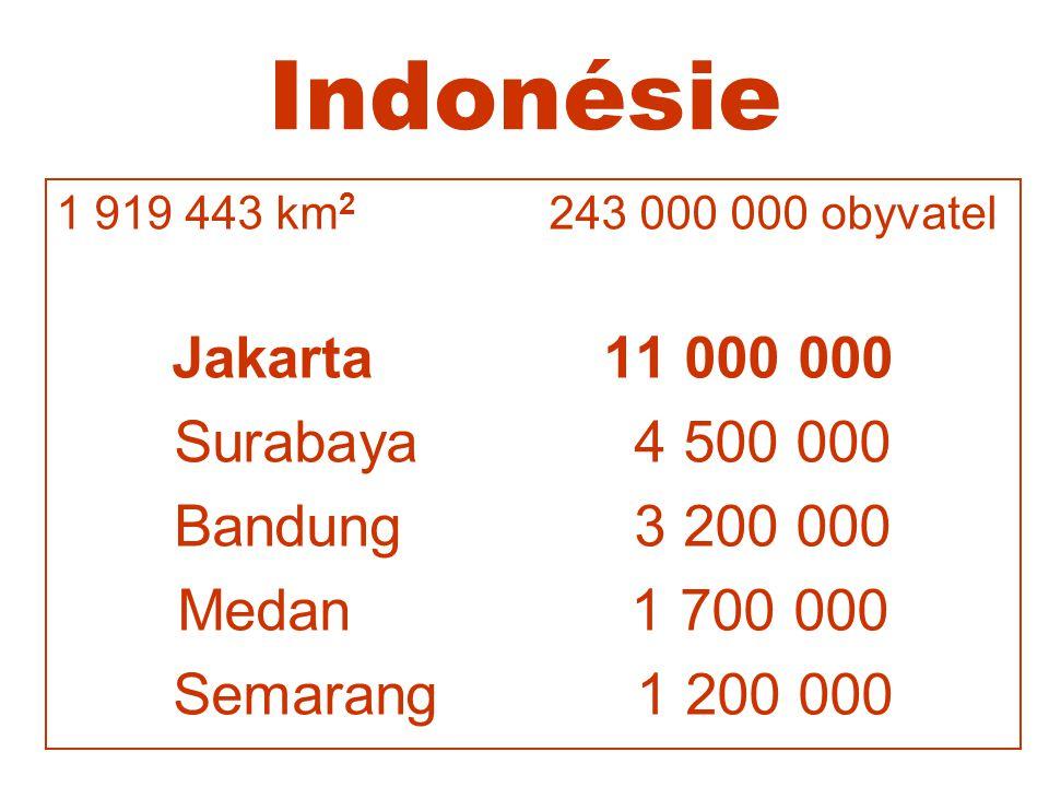 Indonésie Jakarta 11 000 000 Surabaya 4 500 000 Bandung 3 200 000