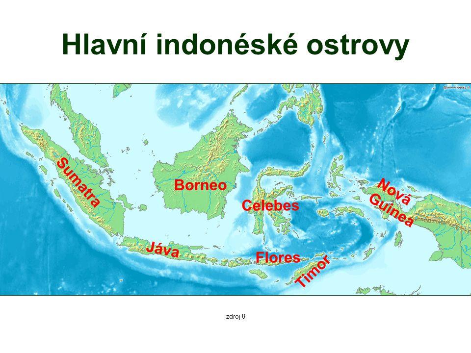 Hlavní indonéské ostrovy