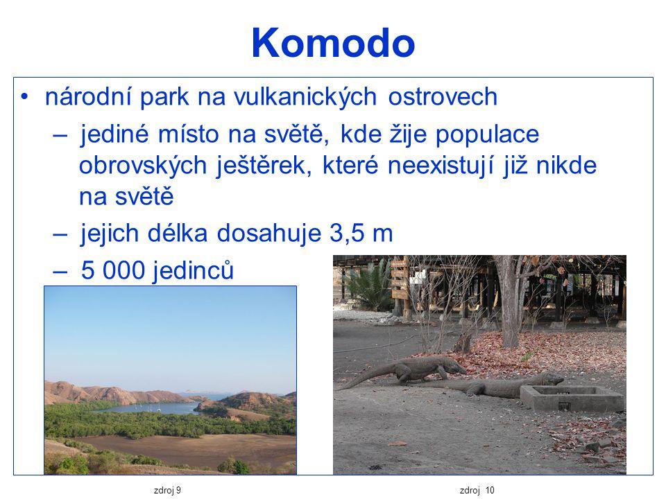 Komodo národní park na vulkanických ostrovech