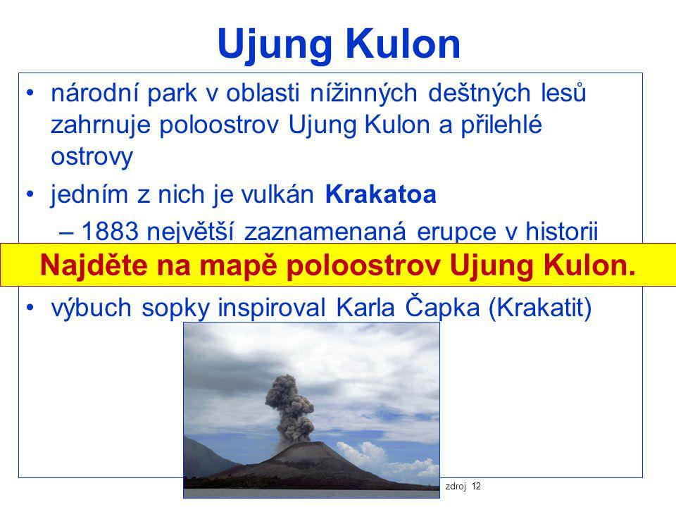 Najděte na mapě poloostrov Ujung Kulon.