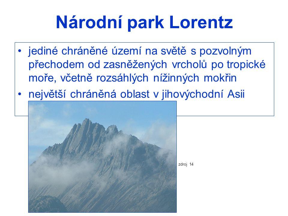Národní park Lorentz jediné chráněné území na světě s pozvolným přechodem od zasněžených vrcholů po tropické moře, včetně rozsáhlých nížinných mokřin.