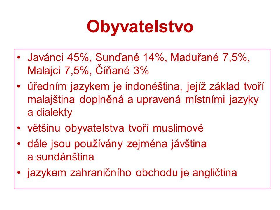 Obyvatelstvo Javánci 45%, Sunďané 14%, Maduřané 7,5%, Malajci 7,5%, Číňané 3%