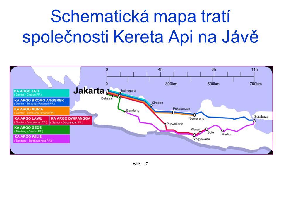 Schematická mapa tratí společnosti Kereta Api na Jávě