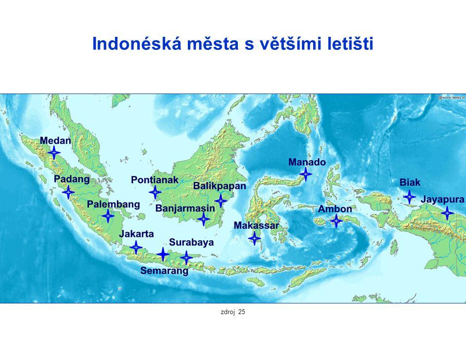 Indonéská města s většími letišti