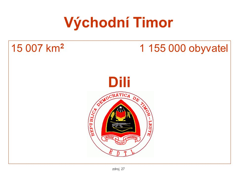 Východní Timor 15 007 km2 1 155 000 obyvatel Dili zdroj 27