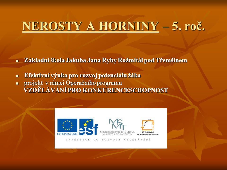 NEROSTY A HORNINY – 5. roč. Základní škola Jakuba Jana Ryby Rožmitál pod Třemšínem. Efektivní výuka pro rozvoj potenciálu žáka.
