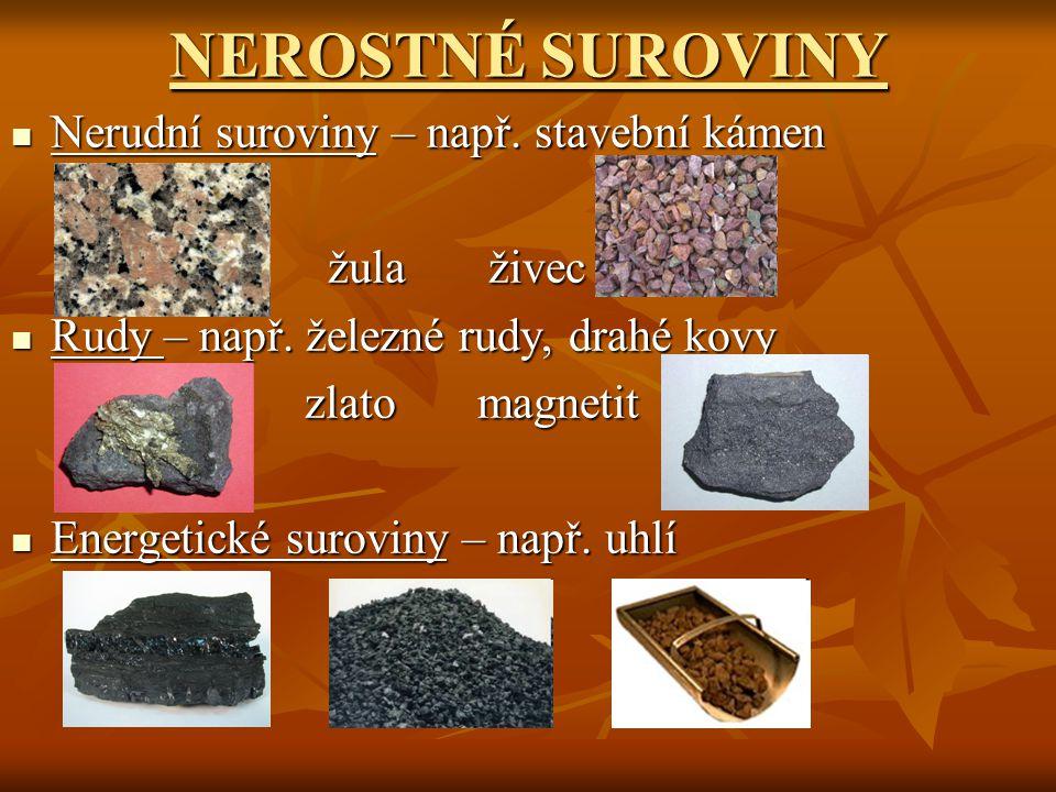 NEROSTNÉ SUROVINY Nerudní suroviny – např. stavební kámen žula živec