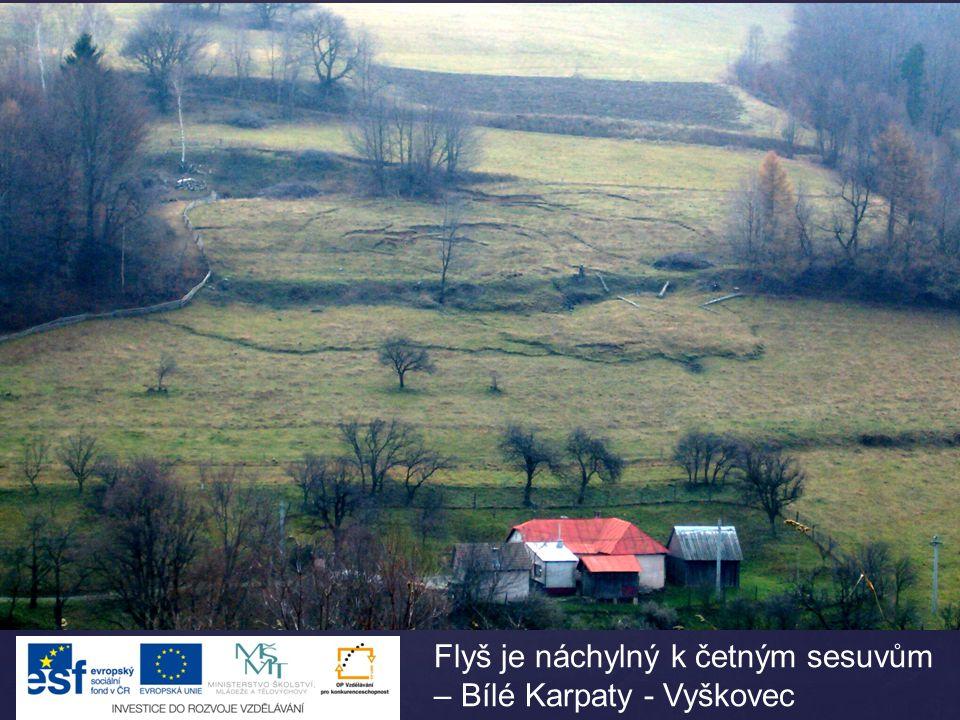 Flyš je náchylný k četným sesuvům – Bílé Karpaty - Vyškovec