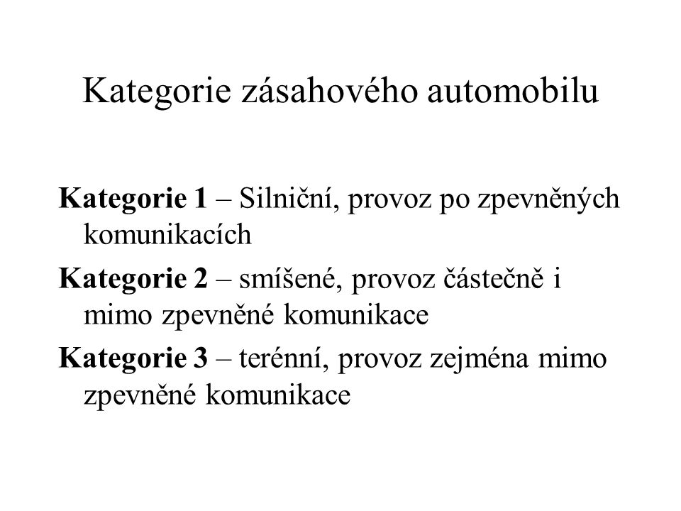 Kategorie zásahového automobilu