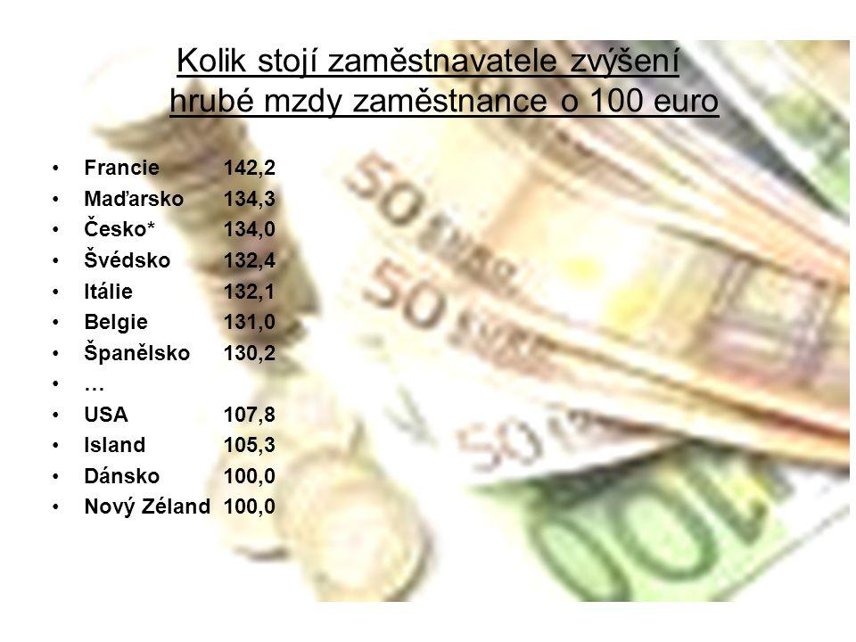 Kolik stojí zaměstnavatele zvýšení hrubé mzdy zaměstnance o 100 euro