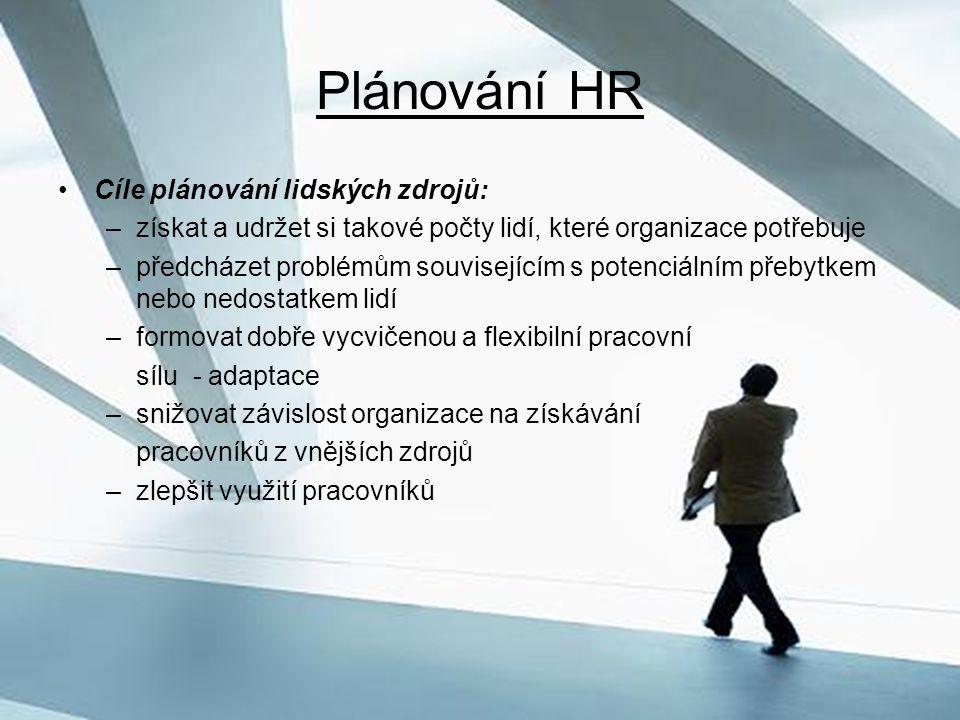 Plánování HR Cíle plánování lidských zdrojů:
