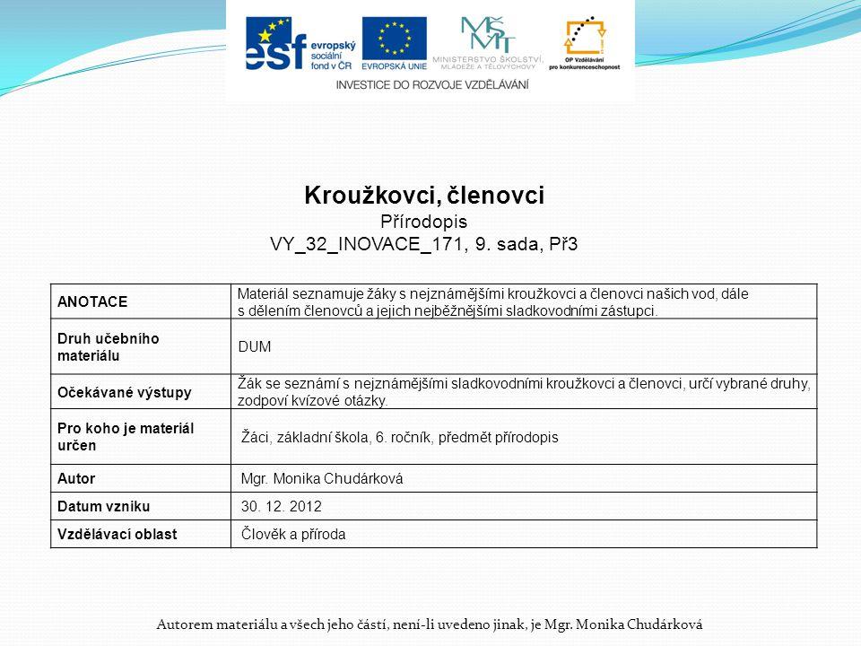 Kroužkovci, členovci Přírodopis VY_32_INOVACE_171, 9. sada, Př3