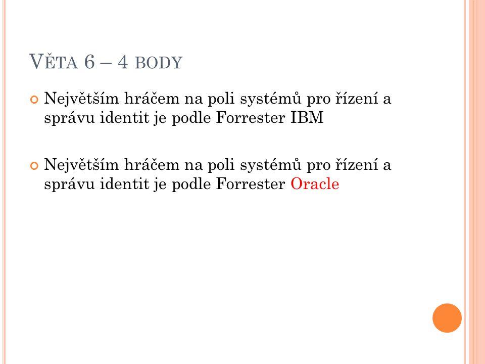 Věta 6 – 4 body Největším hráčem na poli systémů pro řízení a správu identit je podle Forrester IBM.