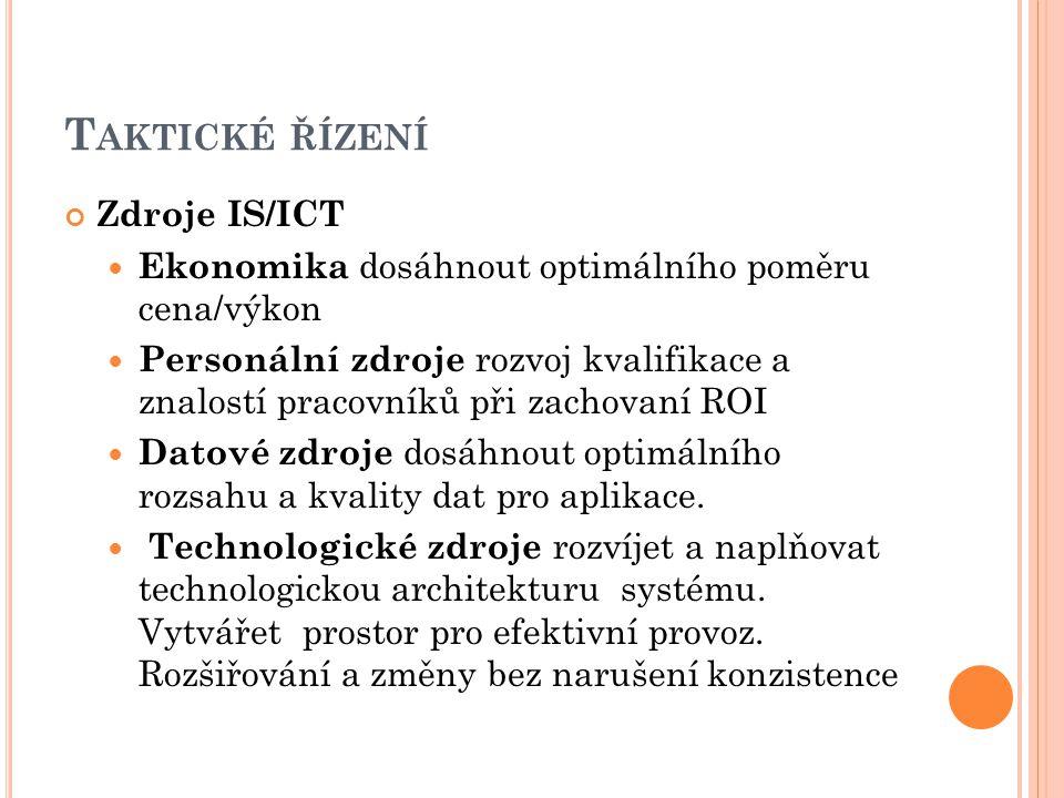 Taktické řízení Zdroje IS/ICT