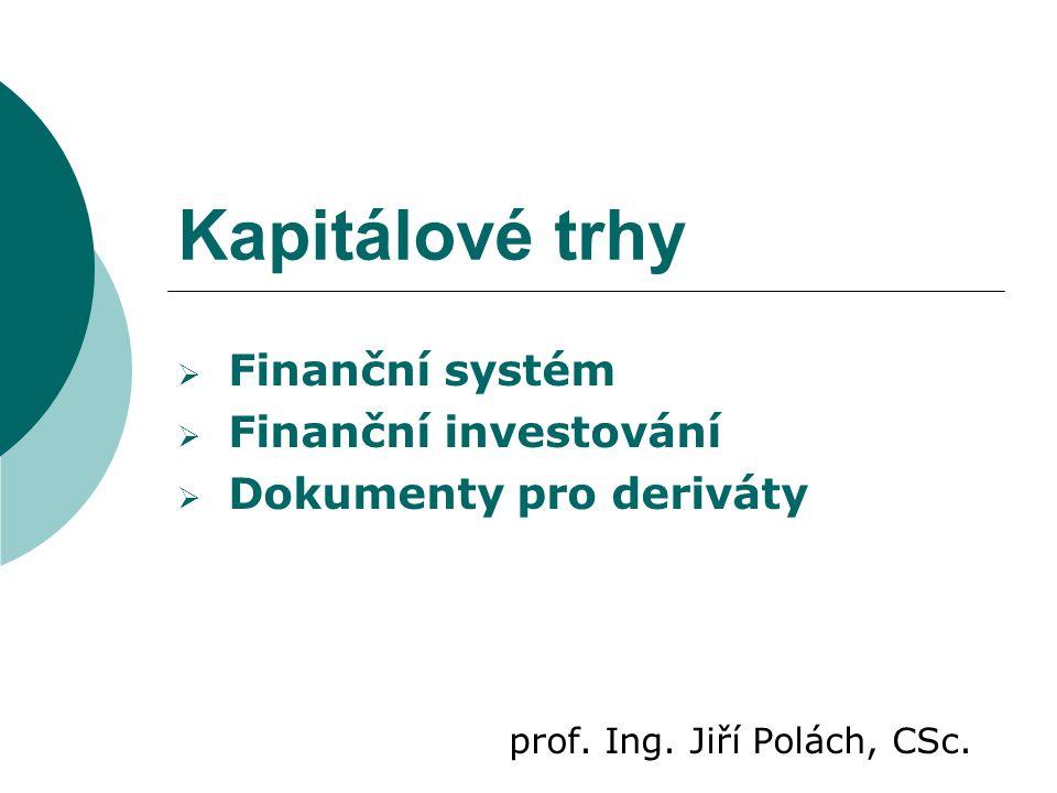 Kapitálové trhy Finanční systém Finanční investování