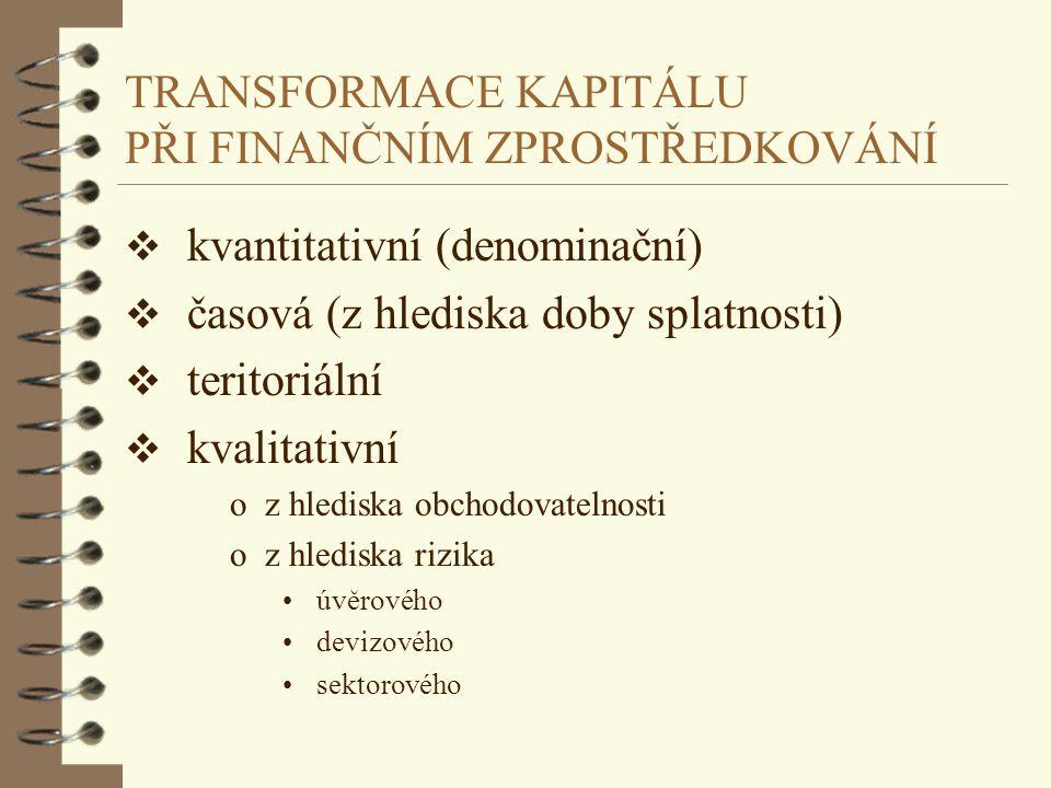 TRANSFORMACE KAPITÁLU PŘI FINANČNÍM ZPROSTŘEDKOVÁNÍ