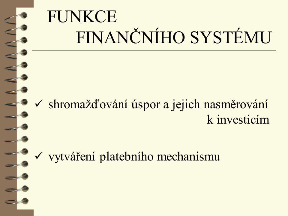 FUNKCE FINANČNÍHO SYSTÉMU