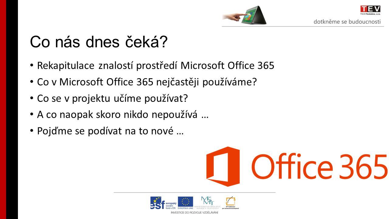 Co nás dnes čeká Rekapitulace znalostí prostředí Microsoft Office 365