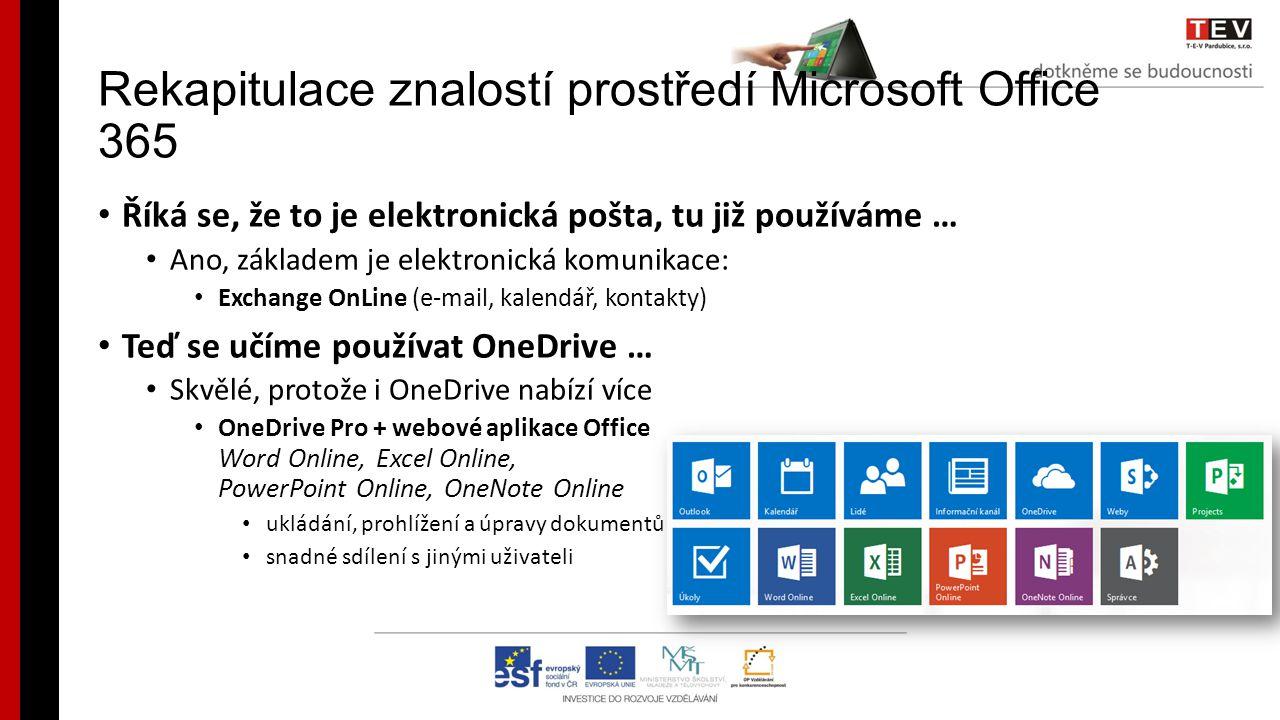 Rekapitulace znalostí prostředí Microsoft Office 365