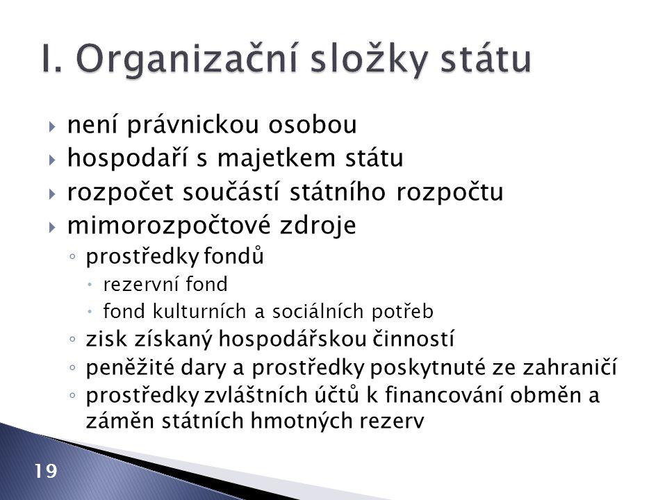 I. Organizační složky státu