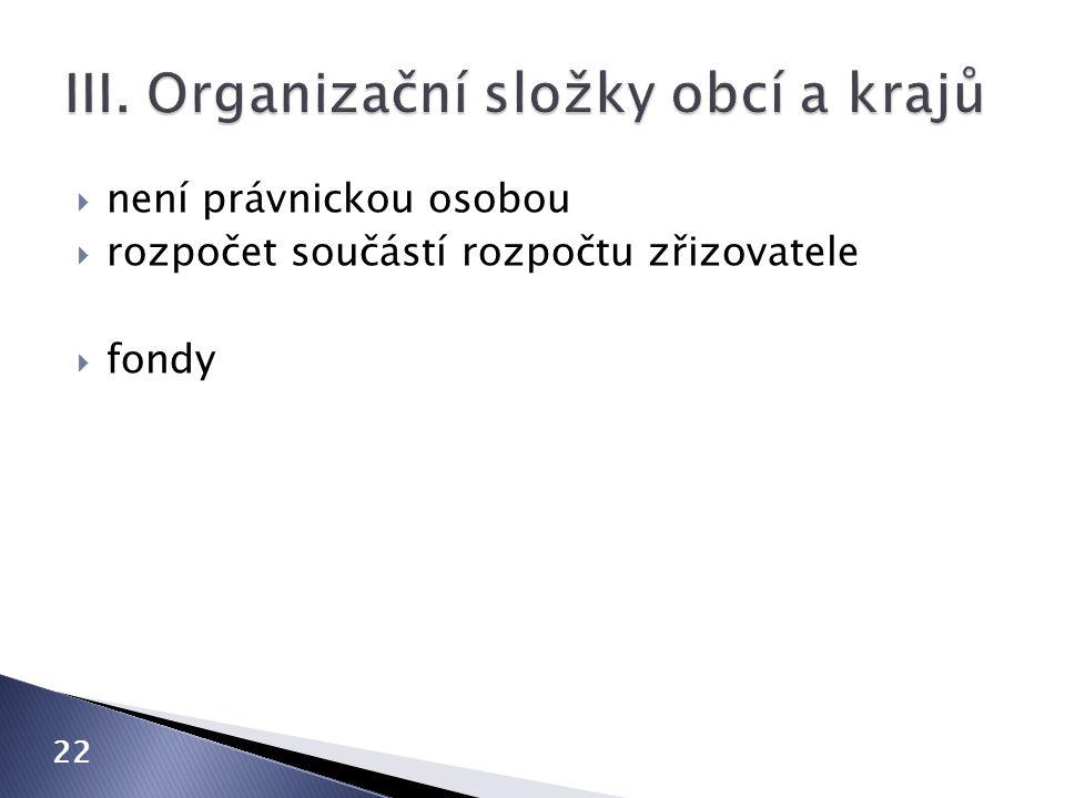 III. Organizační složky obcí a krajů