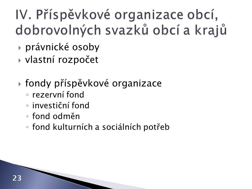 IV. Příspěvkové organizace obcí, dobrovolných svazků obcí a krajů