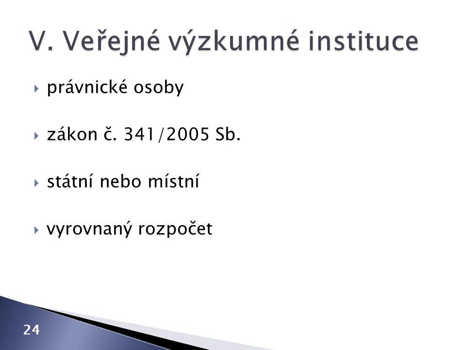 V. Veřejné výzkumné instituce