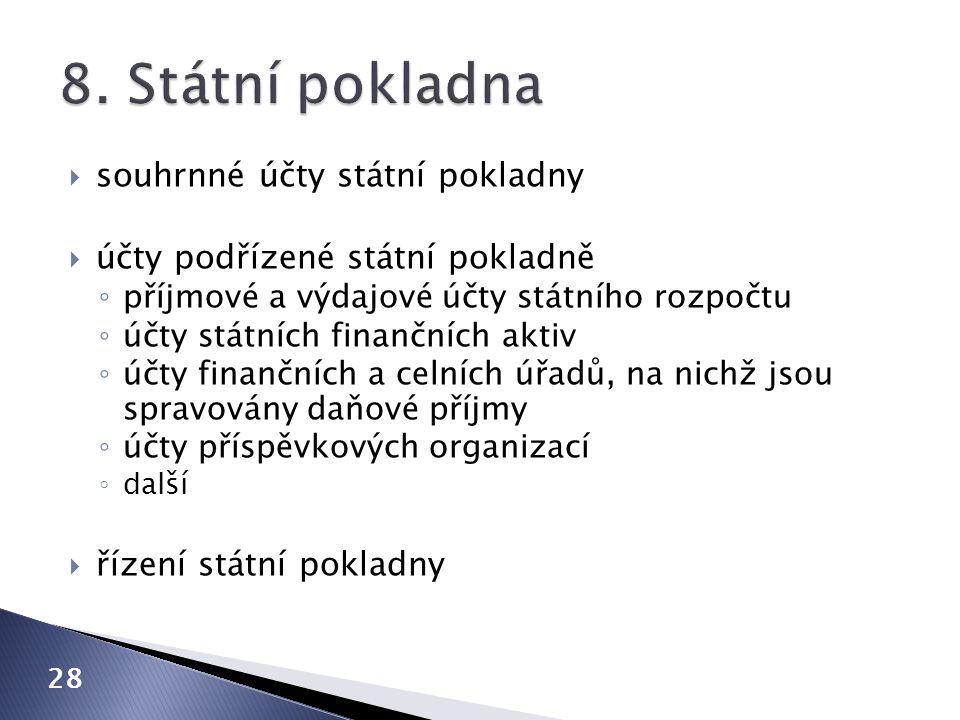8. Státní pokladna souhrnné účty státní pokladny