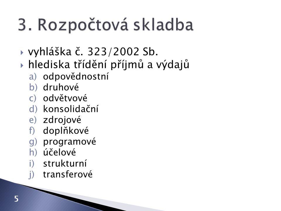 3. Rozpočtová skladba vyhláška č. 323/2002 Sb.