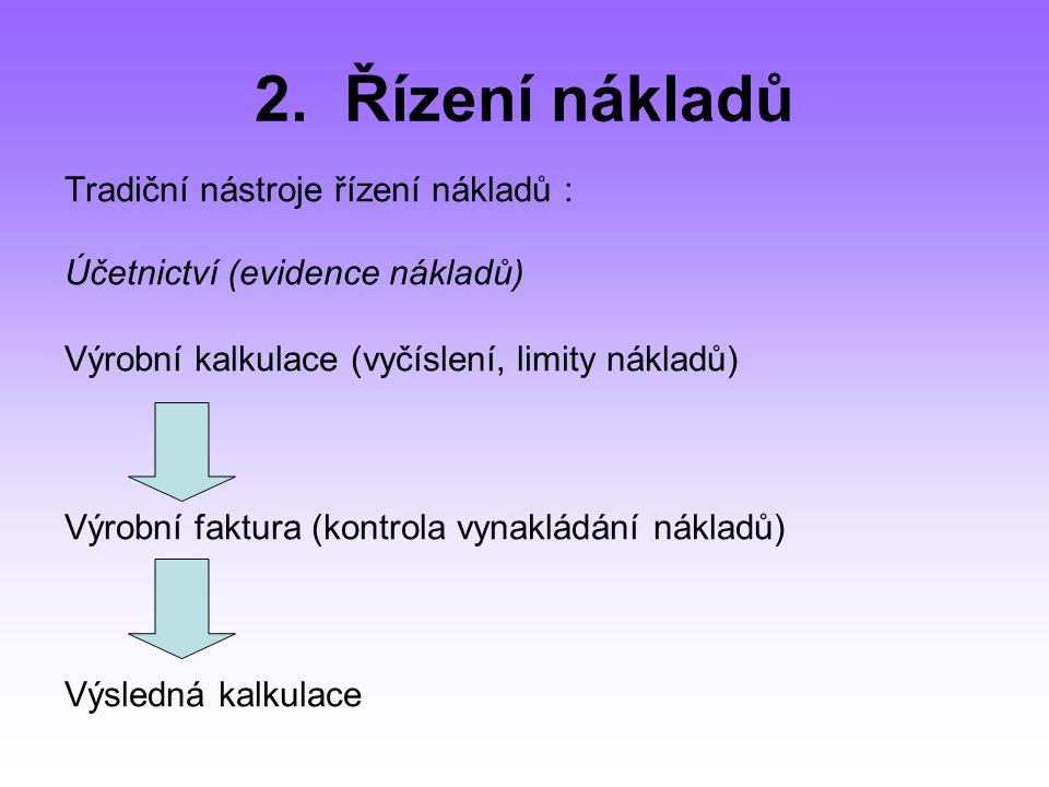 2. Řízení nákladů Tradiční nástroje řízení nákladů :