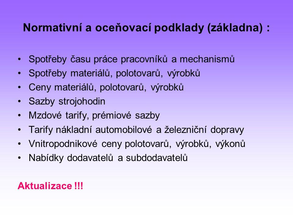 Normativní a oceňovací podklady (základna) :