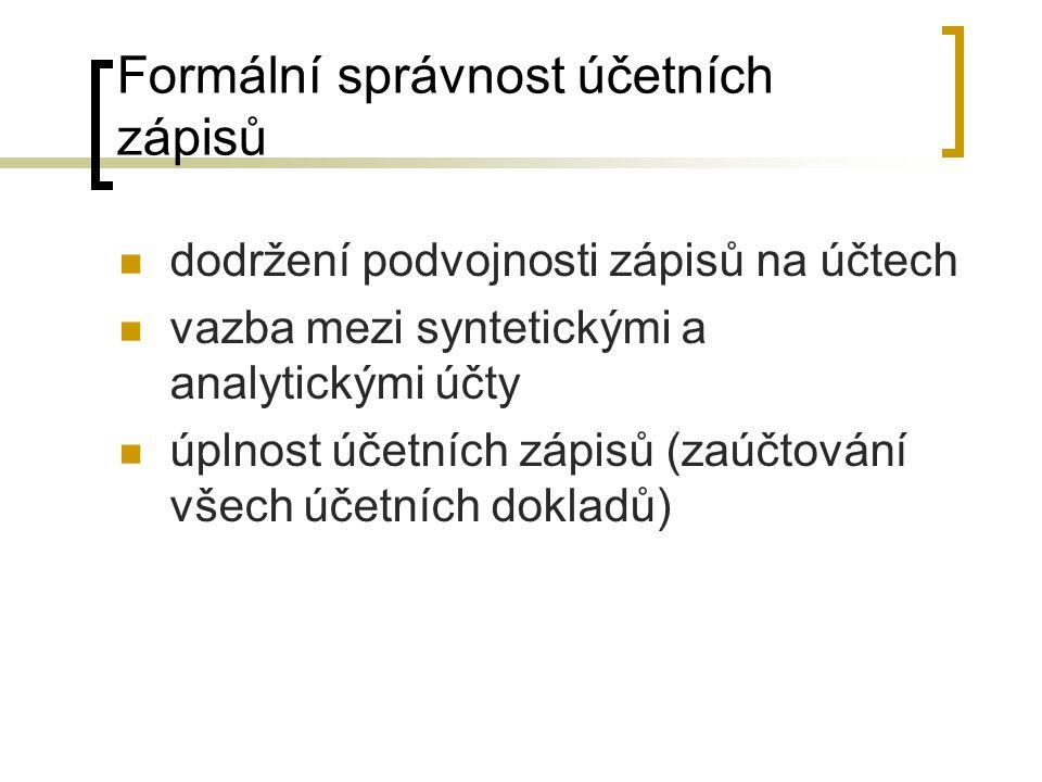 Formální správnost účetních zápisů