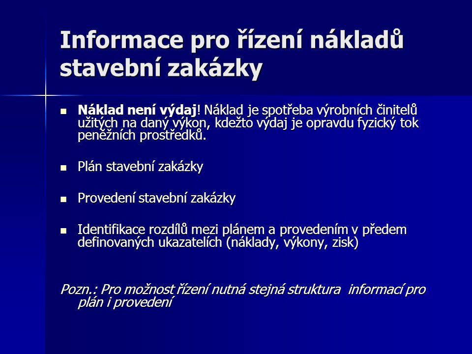 Informace pro řízení nákladů stavební zakázky